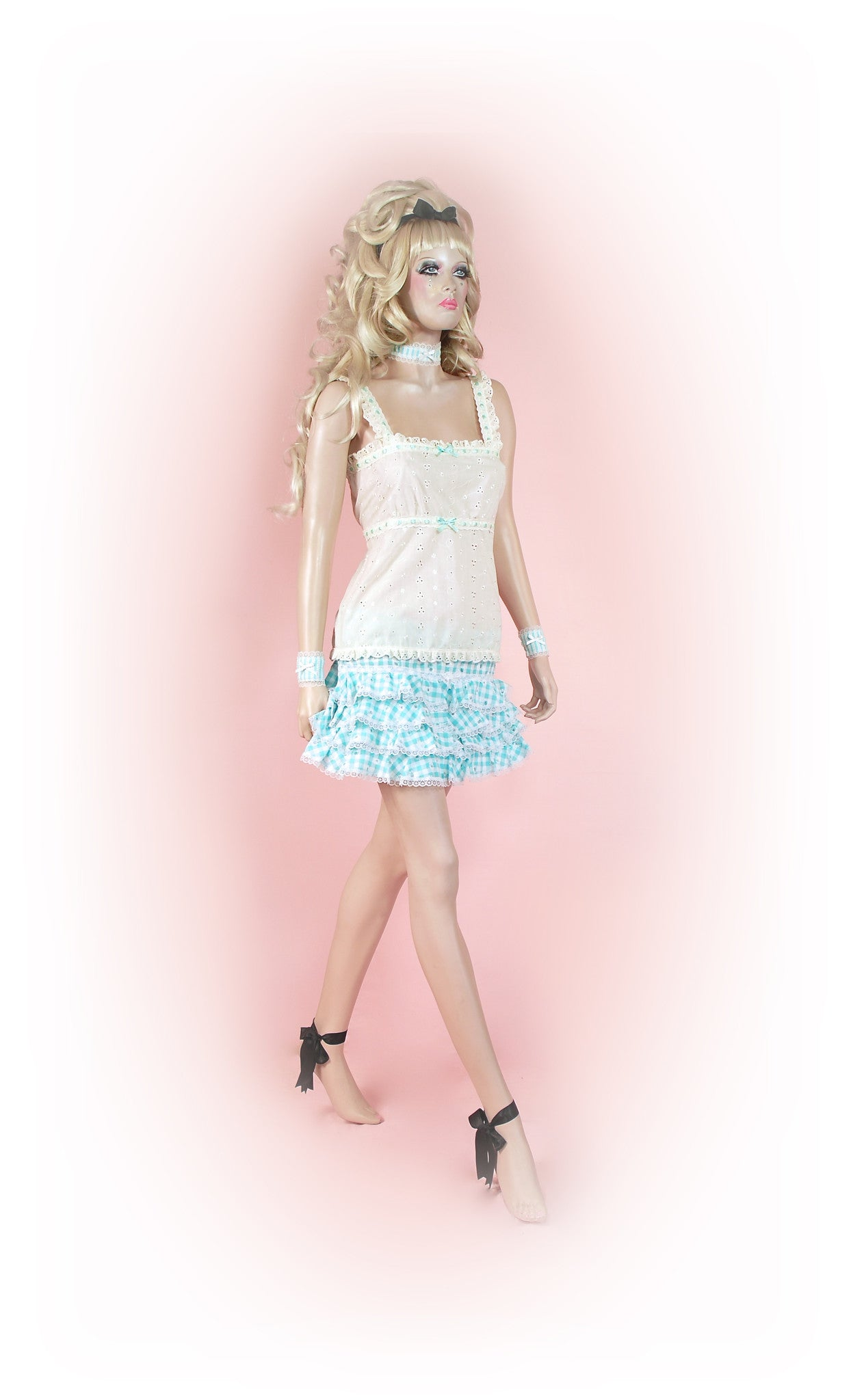 Blue<br>Gingham Frilly Mini