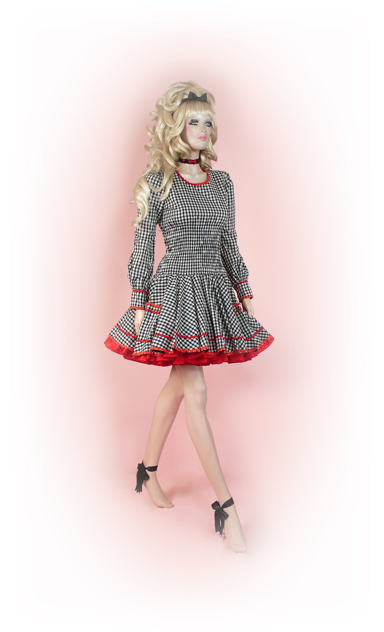 Black with Red<br>Ric-Rac Gingham