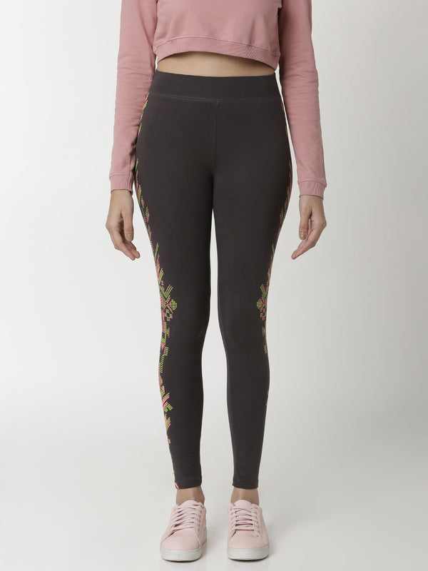 De Moza -  Ladies Printed Ankle Length Leggings Dark Grey