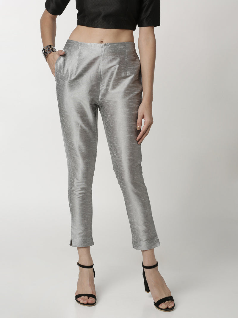 De Moza Ladies Cigarette Pant Light Grey - De Moza