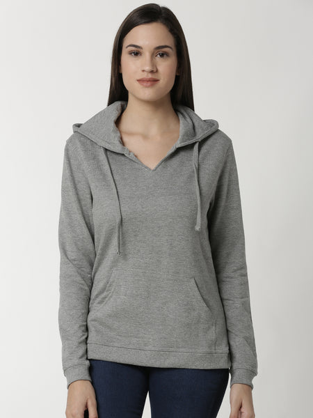 De Moza Ladies Sweat Shirt Grey Melange - De Moza