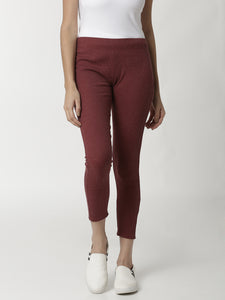 De Moza Ladies Maroon Melange Leggings - De Moza
