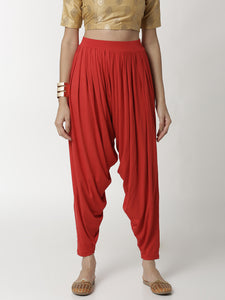 De Moza Ladies Patiala Pant Red - De Moza