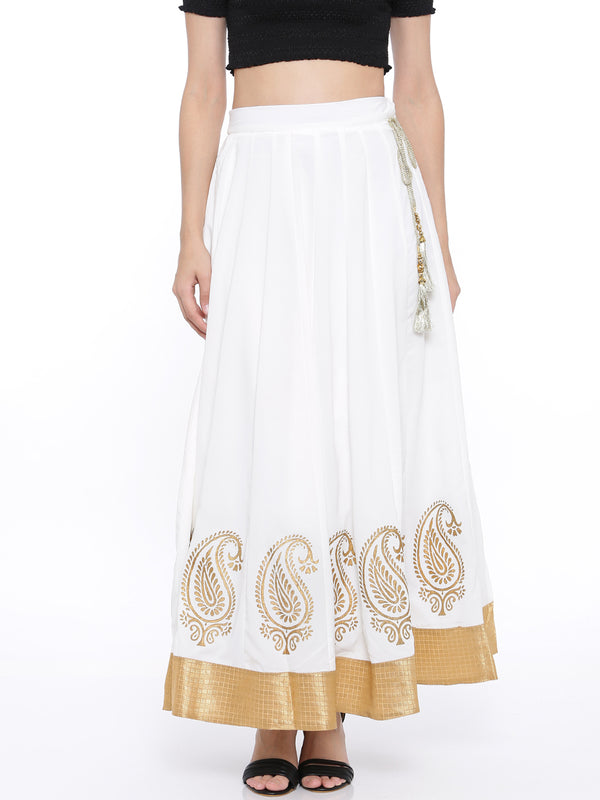 De Moza Ladies White Skirt with Gold Print - De Moza