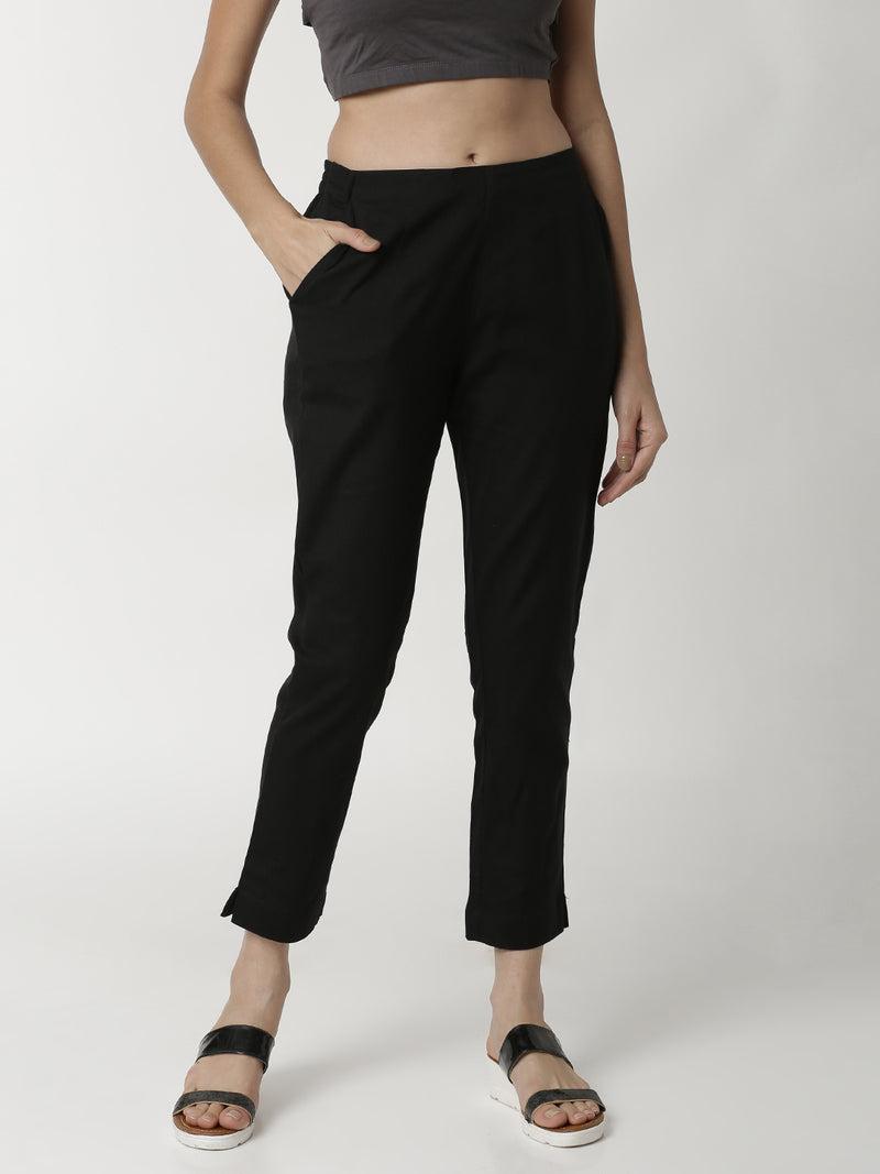 De Moza Ladies Cigarette Pant Black - De Moza