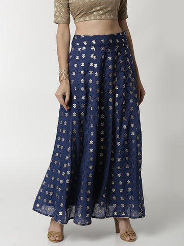 De Moza Ladies Navy Blue Jacquard Skirt