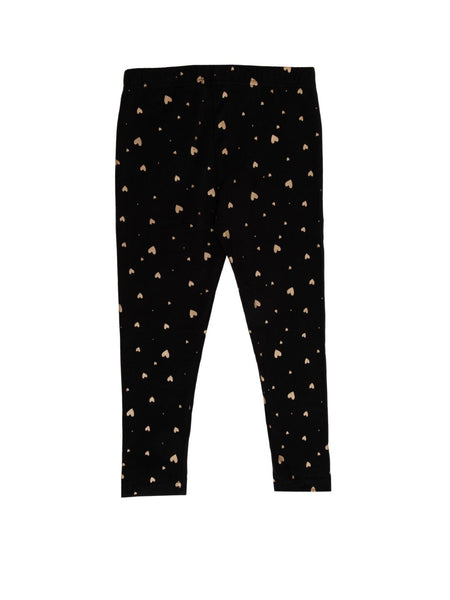 Kids - Girls Printed Leggings Black - De Moza