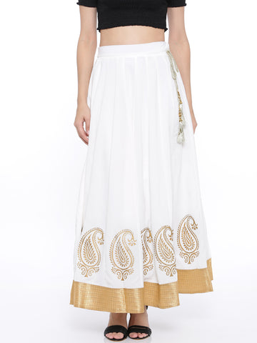 De Moza Ladies Skirt - White Skirt with Gold Print