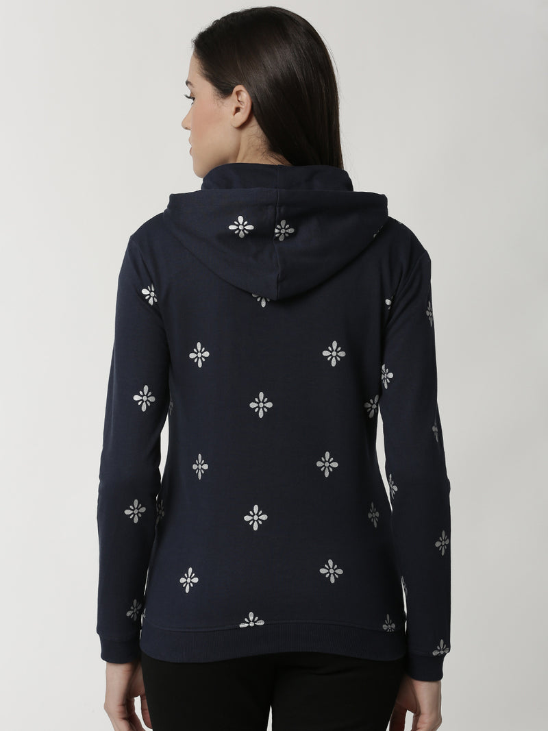De Moza Ladies Dark Navy Blue Printed Sweat shirt - De Moza
