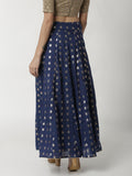 De Moza Ladies Navy Blue Jacquard Skirt - De Moza
