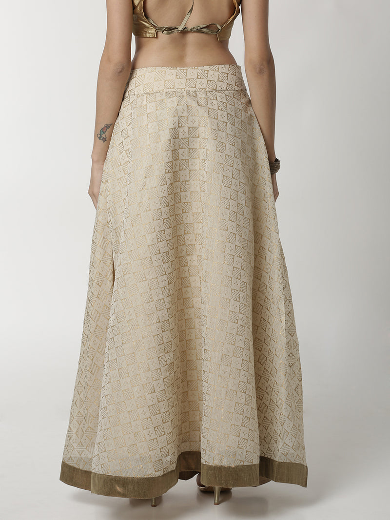 De Moza Ladies Printed Beige Skirt - De Moza