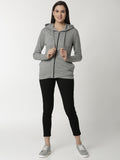 De Moza Ladies Grey Melange Sweat shirt - De Moza
