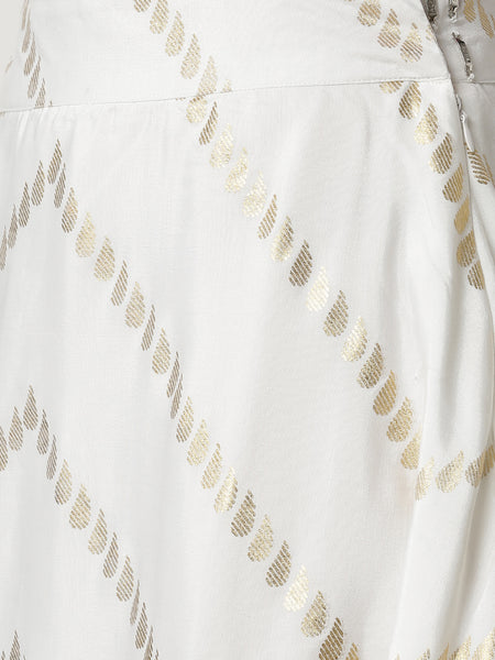 De Moza Ladies Printed Skirt Offwhite - De Moza