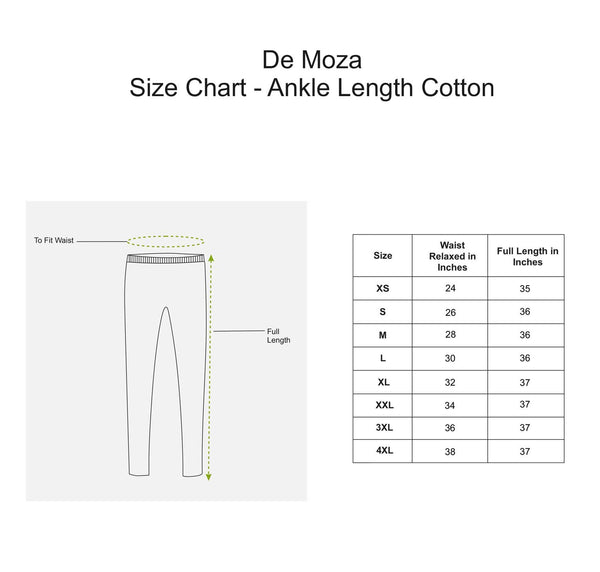 De Moza Ladies Leggings Ankle Length Cotton Lycra Solid White - De Moza