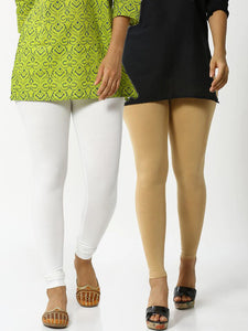 De Moza Women's Free Size Ankle length leggings pack of 2 White & Skin - De Moza