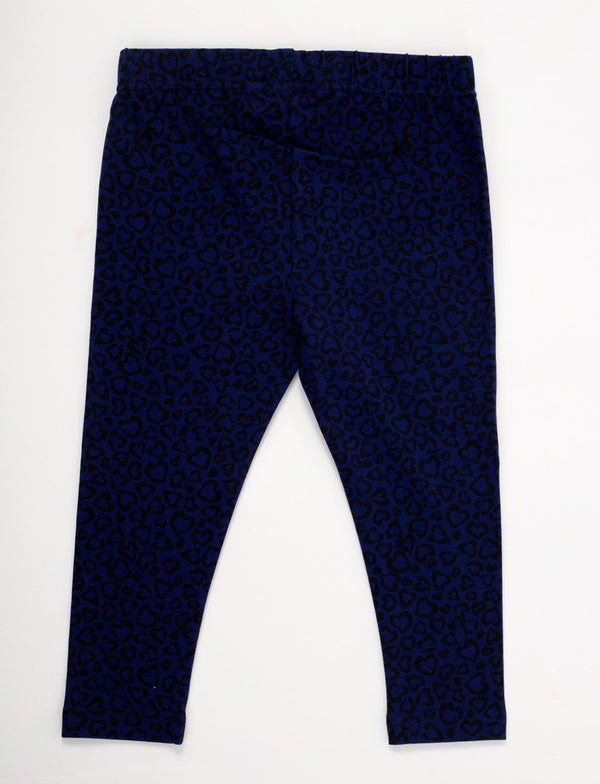 De Moza Kids - Girls Leggings Ankle Length Cotton Lycra Printed Navy Blue