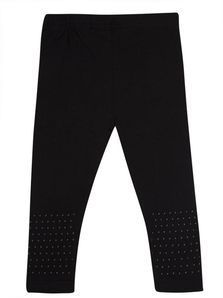 De Moza Young - Girls Leggings Ankle Length Solid Cotton Lycra Black 8-9Yrs