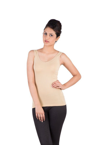 De Moza Ladies Knit Top Razor Back Cotton Lycra Solid Beige