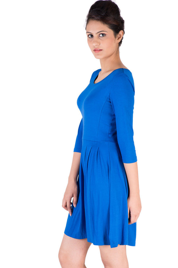 De Moza Ladies Dress Maxi Dress Viscose Lycra Solid Cobalt