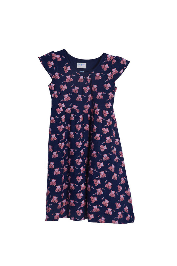 De Moza Girls Dress Knit Printed Viscose Lycra Navy Blue - De Moza