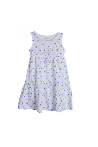 De Moza Girls Dress Knit All Over Print 100% Cotton White