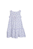 De Moza Girls Dress Knit Printed Cotton White - De Moza