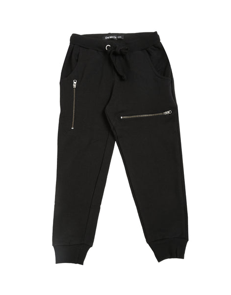 De Moza Kids - Girls Jogger Knit Bottom Solid Cotton Black - De Moza
