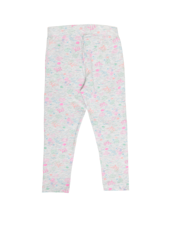 Kids - Girls Printed Leggings Grey Melange - De Moza