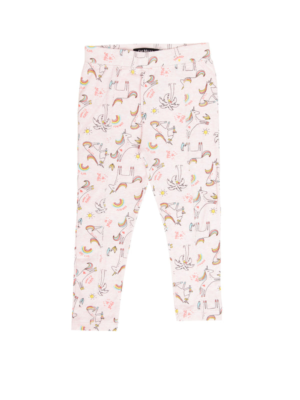 Kids - Girls Printed Leggings Pink Melange - De Moza