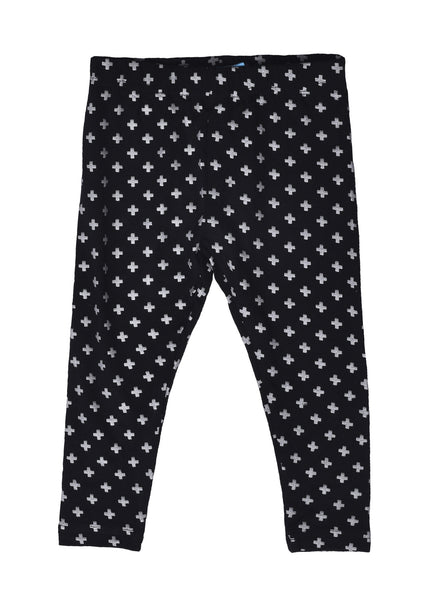 De Moza Girls Leggings Ankle Length Printed Viscose Black - De Moza
