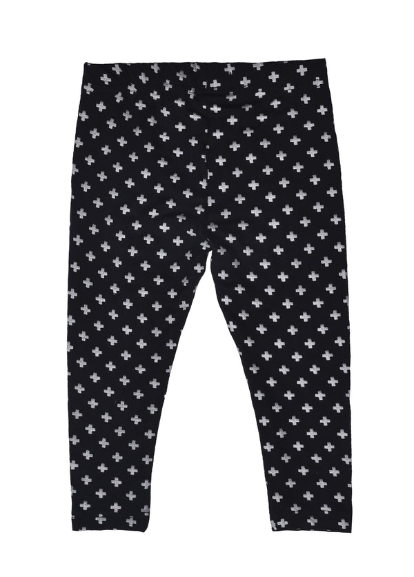 De Moza- Girls Printed Ankle Length Leggings Black - De Moza