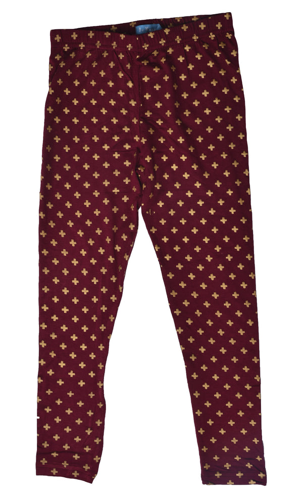 De Moza Girls Leggings Ankle Length Printed Viscose Wine - De Moza