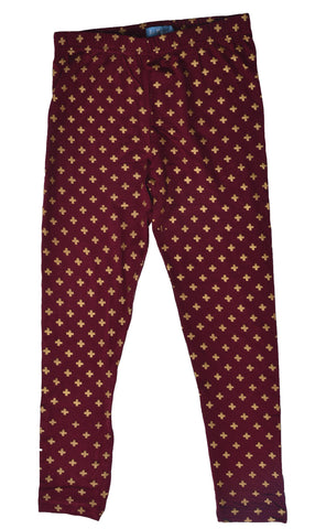 De Moza Girls Leggings Ankle Length AOP 95% Viscose 5% Spandex Wine