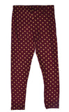 De Moza Girls Leggings Ankle Length Printed Viscose Wine