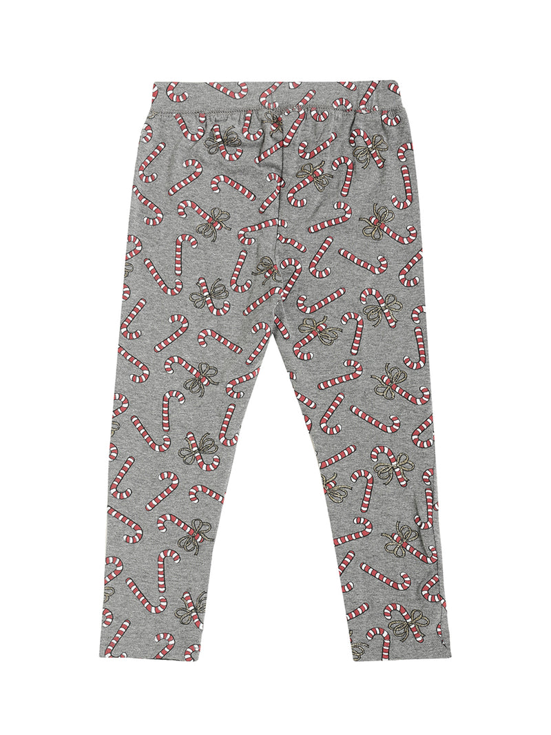 De Moza Kids - Girls Printed Ankle Length Leggings Cotton Anthra Melange - De Moza