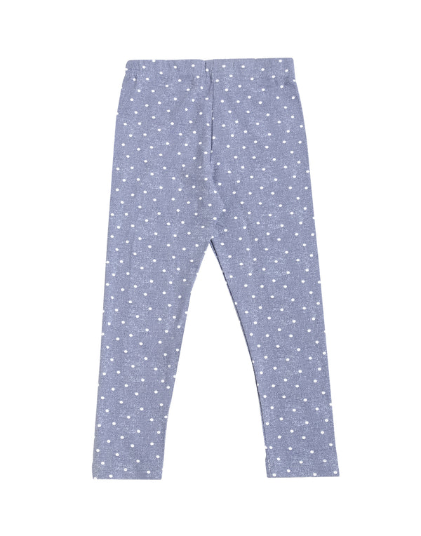 De Moza Kids - Girls Printed Ankle Length Leggings Cotton Indigo Blue - De Moza