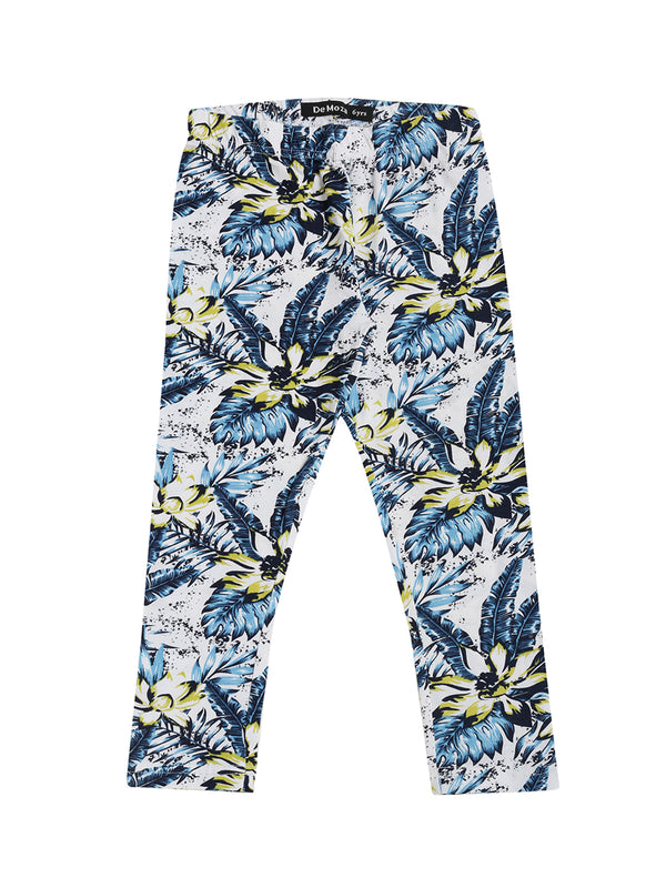 De Moza Kids - Girls Printed Ankle Length Leggings Cotton Light Blue - De Moza