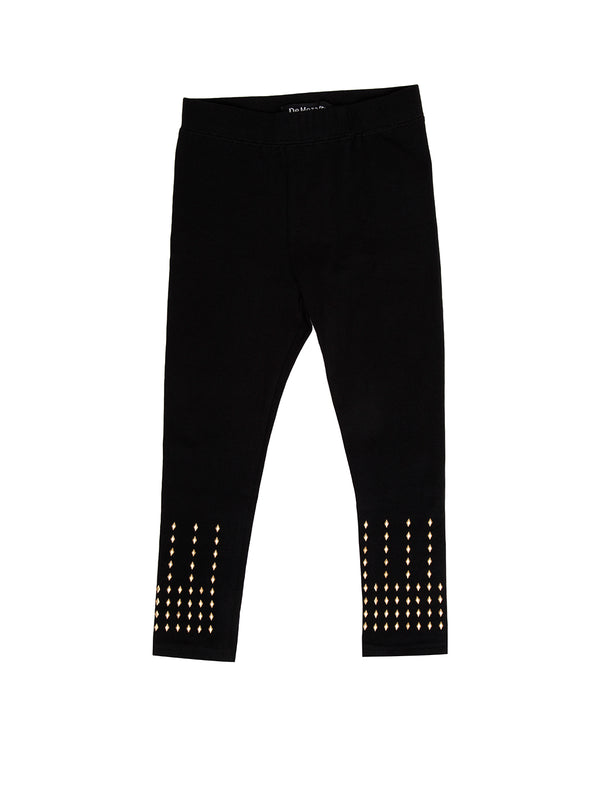 Kids - Girls Stud Leggings Black - De Moza