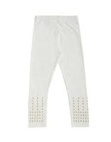 De Moza Kids - Girls Ankle Length Leggings Stud Cotton Offwhite - De Moza