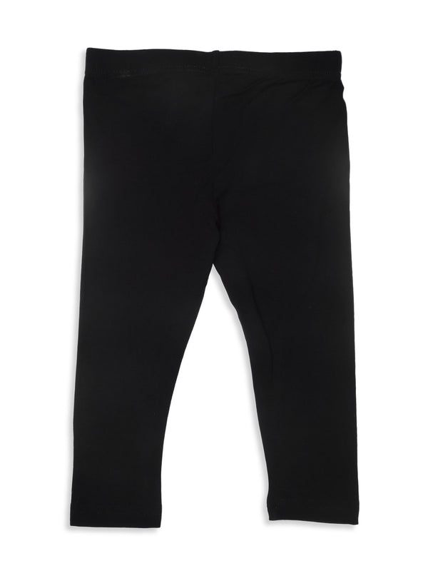 De Moza Kids - Girls Ankle Length Leggings  Solid Viscose Lycra Black - De Moza