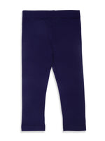 De Moza Kids - Girls Ankle Length Leggings  Solid Viscose Lycra Dark Navy Blue - De Moza