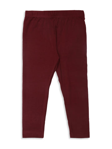 De Moza Kids - Girls Ankle Length Leggings  Solid Viscose Lycra Maroon - De Moza