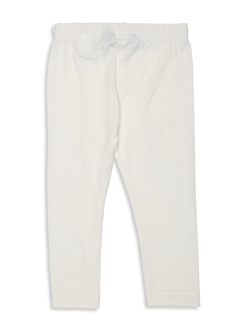 De Moza Kids - Girls Ankle Length Leggings  Solid Viscose Lycra Offwhite - De Moza