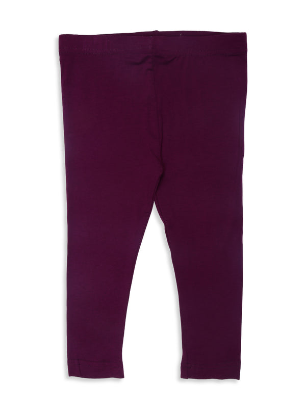 De Moza Kids - Girls Ankle Length Leggings  Solid Viscose Lycra Dark Purple - De Moza