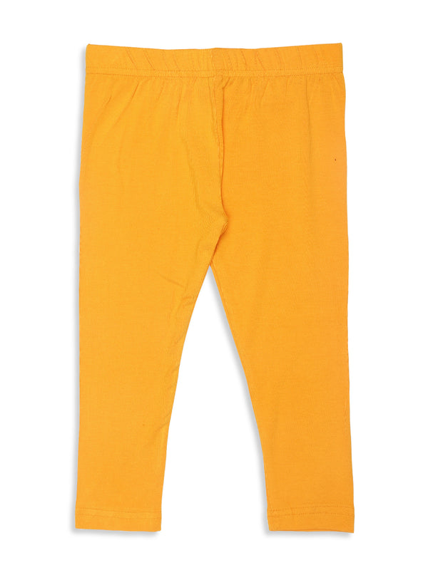 De Moza Kids - Girls Leggings Ankle Length Solid Viscose Lycra Dark Yellow - De Moza