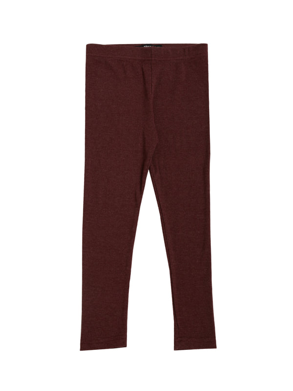 De Moza Kids - Girls Ankle Length Leggings Solid Cotton Maroon Melange - De Moza