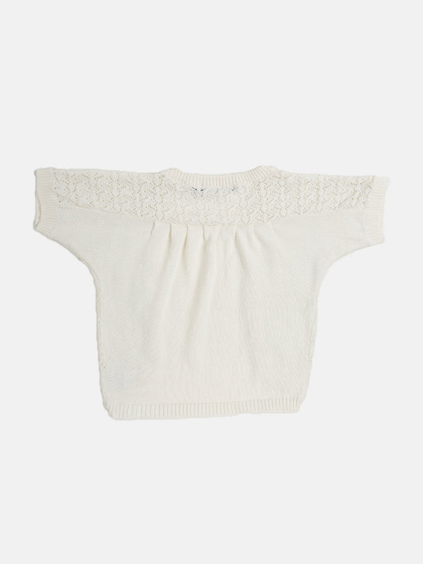 Kids - Girls Cotton Shrug Offwhite - De Moza