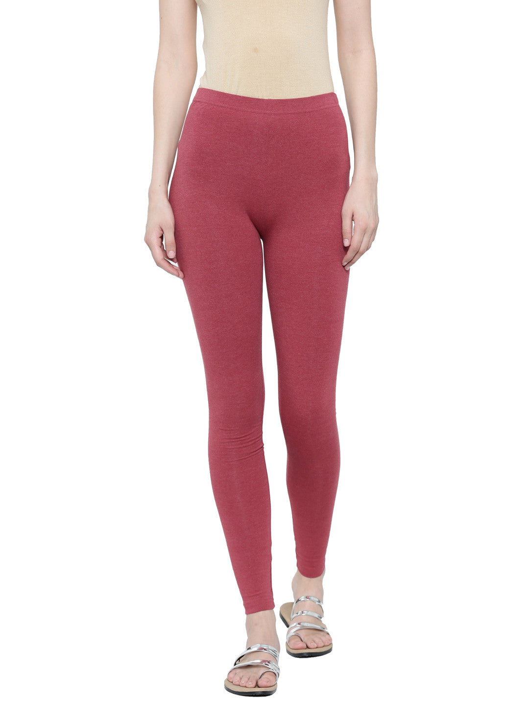 De Moza Ladies Ankle Length Leggings Solid Melange Lycra Maroon Melange XXL