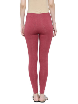De Moza Ladies Leggings Ankle Length Melange Lycra Maroon Melange