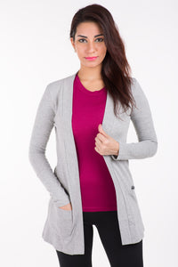 De Moza Ladies Shrug Long Length Viscose Solid Grey Melange